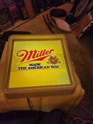 Vintage Very Rare Miller Bar Lighted Sign Bar Made The American Way Beer Mancave