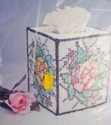 Vtg Needlecraft Plastic Canvas Stained Glass Pop-up Tissue Box Cover Kit Floral