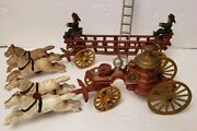 Vintage Cast Iron Horse Drawn Hook And Ladder And Steam Pumper Fire Trucks Nice