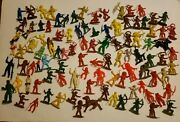 Lot Of 90 Vintage Mixed Plastic Toy Cowboys Indians Horse