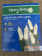 🎄merry Brite 140 Count Led Lights Warm White On Green Wire Christmas