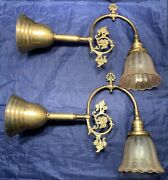 Pair Brass Wall Sconces Fixtures Rewired Nice Antique Shades 105e