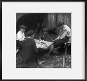Photo Photo Of Stereograph, Behind The Barn, Children Gambling, Playing Cards,