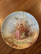 Rare-antique Lsands Limoges,france13 1/2 Hp Courting Couple Cabinet-charger Plate