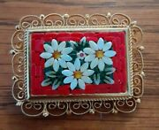 Antique 1920and039s Micro Mosaic Brooch Flower Bouquet Pin Costume Jewelry Italian