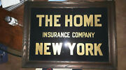 New York Gold Leaf Reverse Glass Insurance Sign. Oak Frame. Very Good Condition.