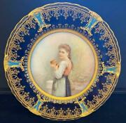 Limoges Cabinet Plate, Hand Painted In Gold And Cobalt Blue And Periwinkle Border