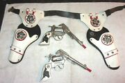 Rare Old Vintage Hubble Toy Co. Western Cowboy Cap Gun W/leather Holsters 1950s