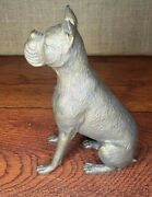 Vintage Large Bronze Boxer Dog Figurine - Amazing Quality And Detail - 3.5lbs