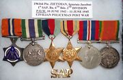 Ww 2 And Post War South African P.o.w. 6 Medal Grouping To A Military Policeman