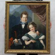 Old Master-art Antique Oil Painting Portrait Small Girl Boy On Canvas 30x40