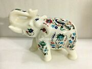 8 Marble White Salute Pose Elephant Statue Lapis Marquetry Floral Inlaid Gifts