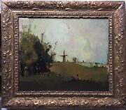 French Oil Postimpressionism Painting Animated Landscape With Windmill