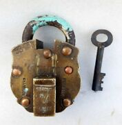 Antique Old Rare Solid Brass Copper Iron Push Button Tricky System Heavy Padlock