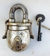 Antique Genuine Old Rare Solid Brass Heavy Pot Shape 8 Lever Padlock With Key