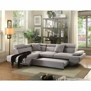 Gray Contemporary Living Room Furniture Right Facing Sectional Sofa W/sleeper