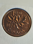 Canada 1974 Prooflike Pl Rd 1 Cent Penny