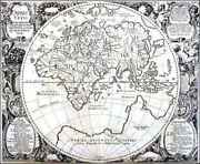 Antique World Map By Christian Rothgiesser Ca. 1651 43 X 53 Cm.