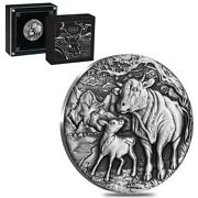 2021 2 Oz Antiqued Silver Lunar Year Of The Ox Australian Perth Mint W/box And