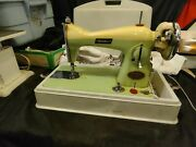 Vintage Belvedere Deluxe Sewing Machinelight. And Case Gc Made In Japan