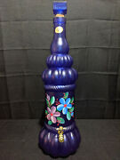 Wine Decanter Made In Italy Sve Hand Decorated Floral Blue Glass W/spigot 22.5