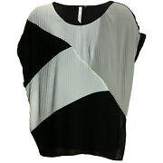 Ny Collection 2x 3x Multi Colorblock Short Sleeve Pleat Top New Free Ship Plus