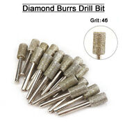 5/10pc Diamond Cylindrical Grinding Head Drill Bits For Metal Die Grinder 6-18mm