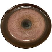 Edwin And Mary Scheier Brown And Mauve Art Pottery Charger With Figural Decoration