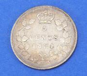 1884 Victoria Silver Canadian 5 Five Cents Coin