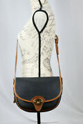 Dooney And Bourke Vintage Awl Leather Large Cavalry Trooper R73 Black Crossbody