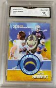 100 2020 Justin Herbert Gold R.o.y. Gma Graded Gem Mint10 Rookie Card Chargers