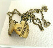 Christian Dior Authentic Vintage Aged Gold Tone Finish Heart Locket Necklace