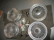 Jaguar E-type Series 1/2 S-type 420 New Hub Set Spinners And 4 Rebuilt Wire Wheels