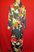 Concept 70's For Swirl Vintage Floral Maxi Hostess Dress 14 Large Pearl Buttons