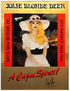 Extremely Rare George Rodrique Signed Jolie Blonde Beer Poster 1984