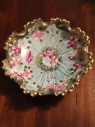 Hand Painted Nippon Bowl Dish Flowers Floral 8.5 Porcelain See Pics