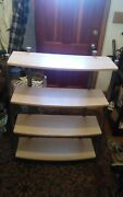 4 Tier Metal And Particle Board Shelf Gray And Light Brown Bookshelf