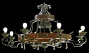 Chandelier Rustic Wrought Iron And Wood A 8 Lights Coll. Bga 1167