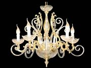Chandelier Crystal And Fusion Of Brass 5 Lights Coll. Bga 1233 Design Op