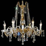 Chandelier Crystal And Fusion Of Brass 6 Lights Coll. Bga 1236 Design Op