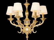 Chandelier In Fusion Of Brass A 6 Lights Coll. Bga 1234 Design With Shades
