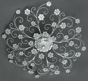Ceiling Wrought Iron Leaf Silver And Porcelain 8 Lights Pre Pl 165/90p