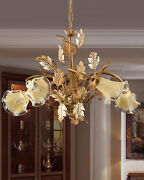 Chandelier A 5 Lights Wrought Iron Murano Leaf Gold Coll.pre Art.ls130/5