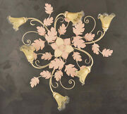 Ceiling A 6 Lights Wrought Iron Murano Ivory-pink Coll.pre Art.pl130/6