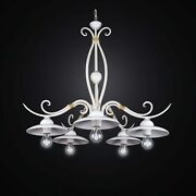 Chandelier Wrought Iron And Ceramics Shabby Chic A 5 Lights Bga 2549/5