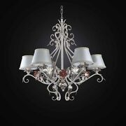 Chandelier Wrought Iron Ivory A 6 Lights Bga 2731-6 With Shades