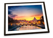 St Peters Cathedral Rome Sunset Italy Framed Art Print Picture Poster Artwork