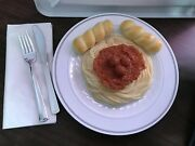 Vintage Realistic Play Food Spaghetti And Meatballs Dinner With Bread