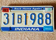Vintage Indiana Auto License Plate - Historic Year For Antique Cars 1988