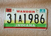 1986 Vintage Indiana Auto License Plate - Historic Year For Antique Cars Wander